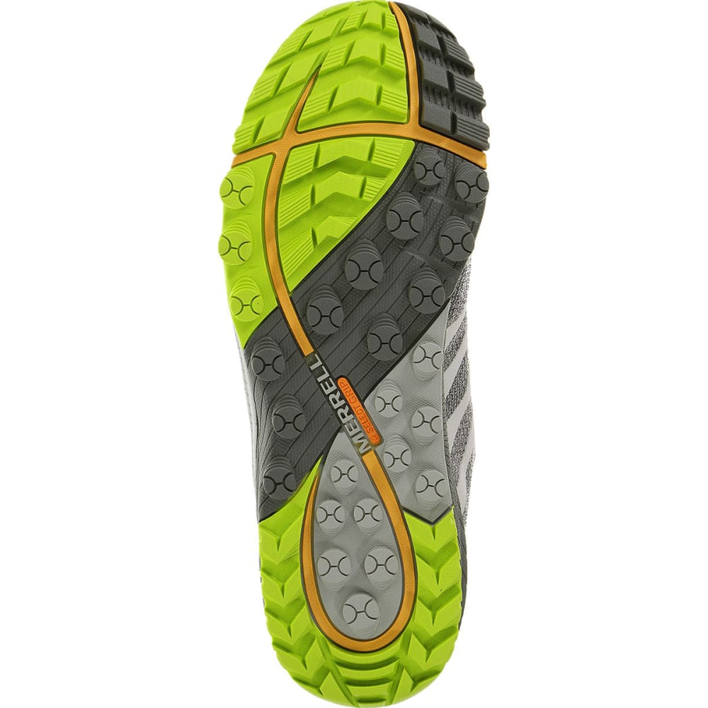 MERRELL Men's All Out Charge Running Shoes, Grey/Lime Green - GREY/LIME GREEN