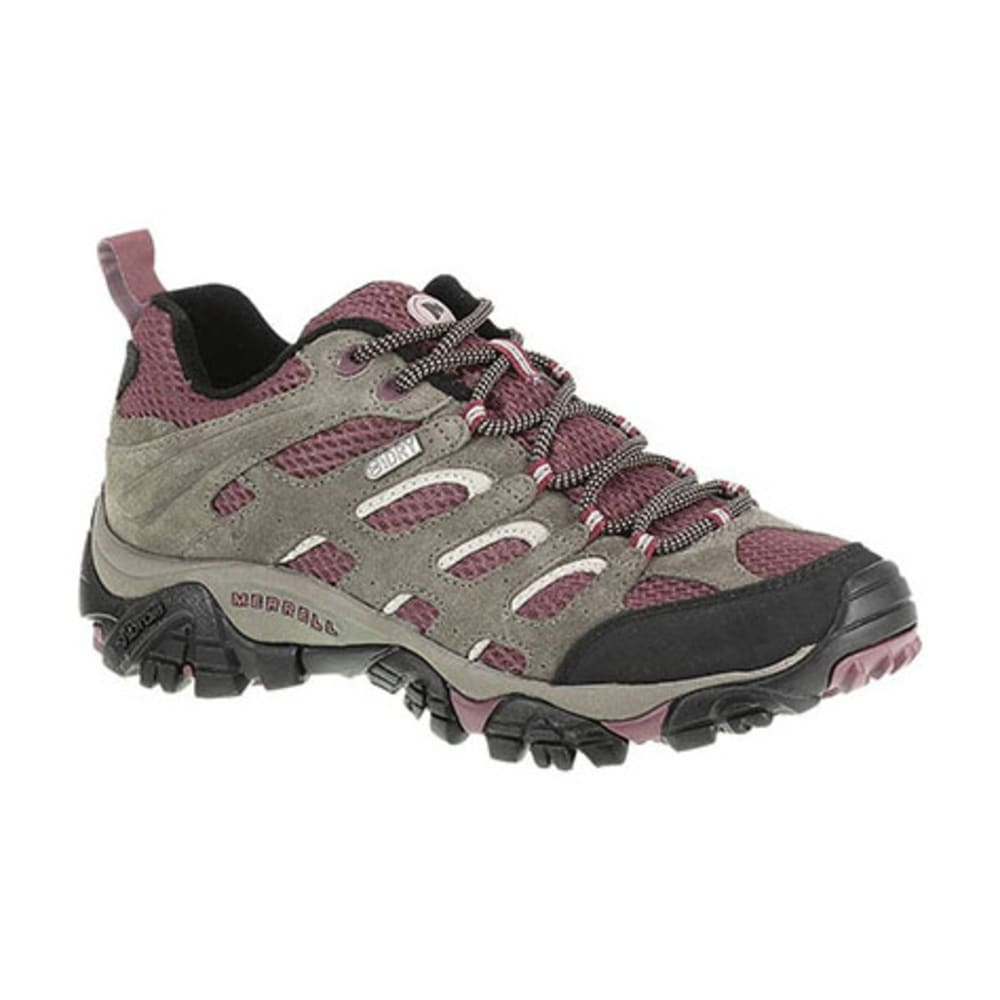 MERRELL Women's Moab Waterproof Hiking Shoes, Boulder/Blush - BOULDER