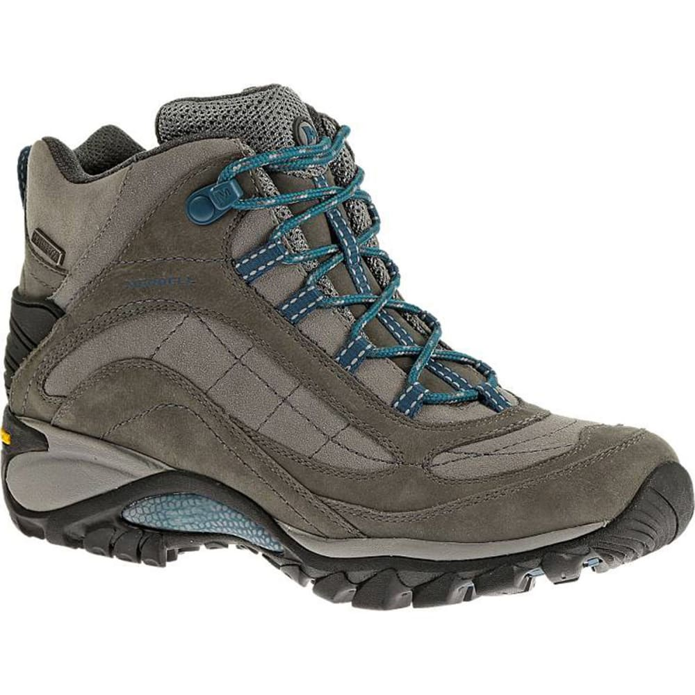 MERRELL Women's Siren Mid Waterproof Hiking Boots, Castle Rock/Blue - CASTLE ROCK/BLUE