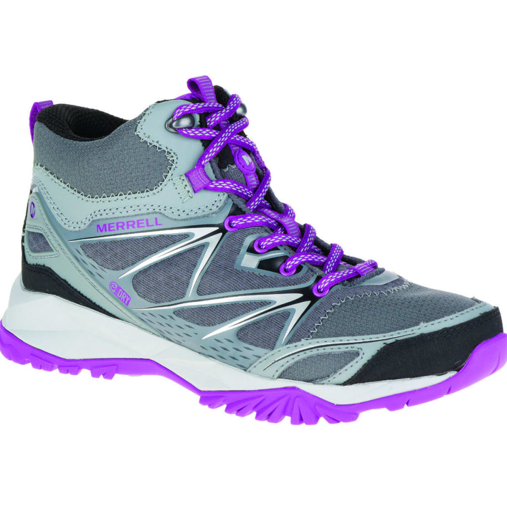 MERRELL Women's Capra Bolt Mid Waterproof Hiking Boots - GREY/PURPLE