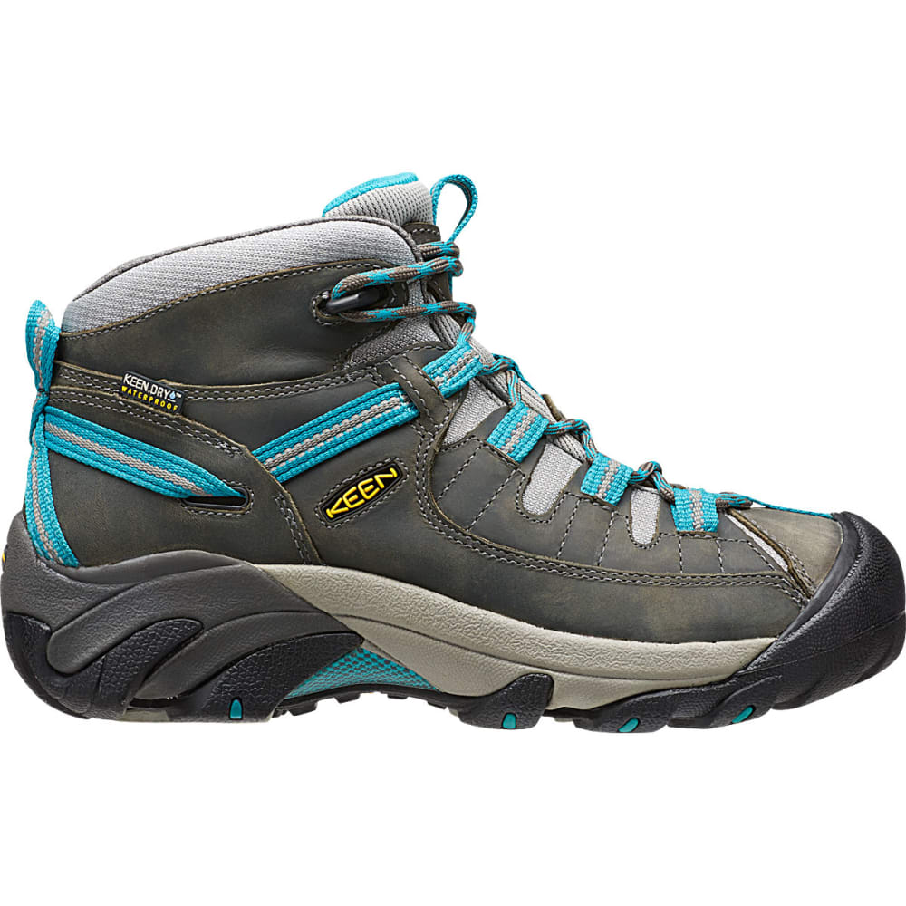 KEEN Women's Targhee II Mid Waterproof Hiking Boots, Gargoyle/Caribbean Sea - GARGOYLE