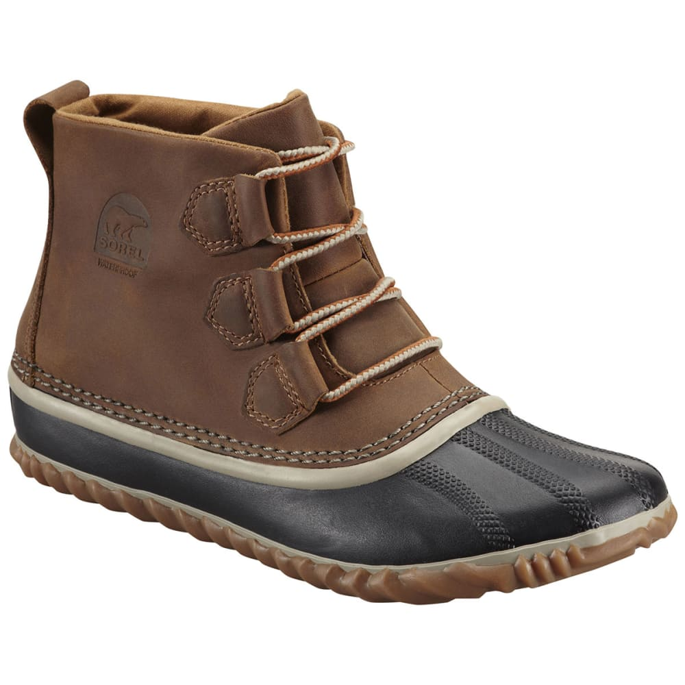 SOREL Women's Out N About Leather Boots, Elk - BROWN