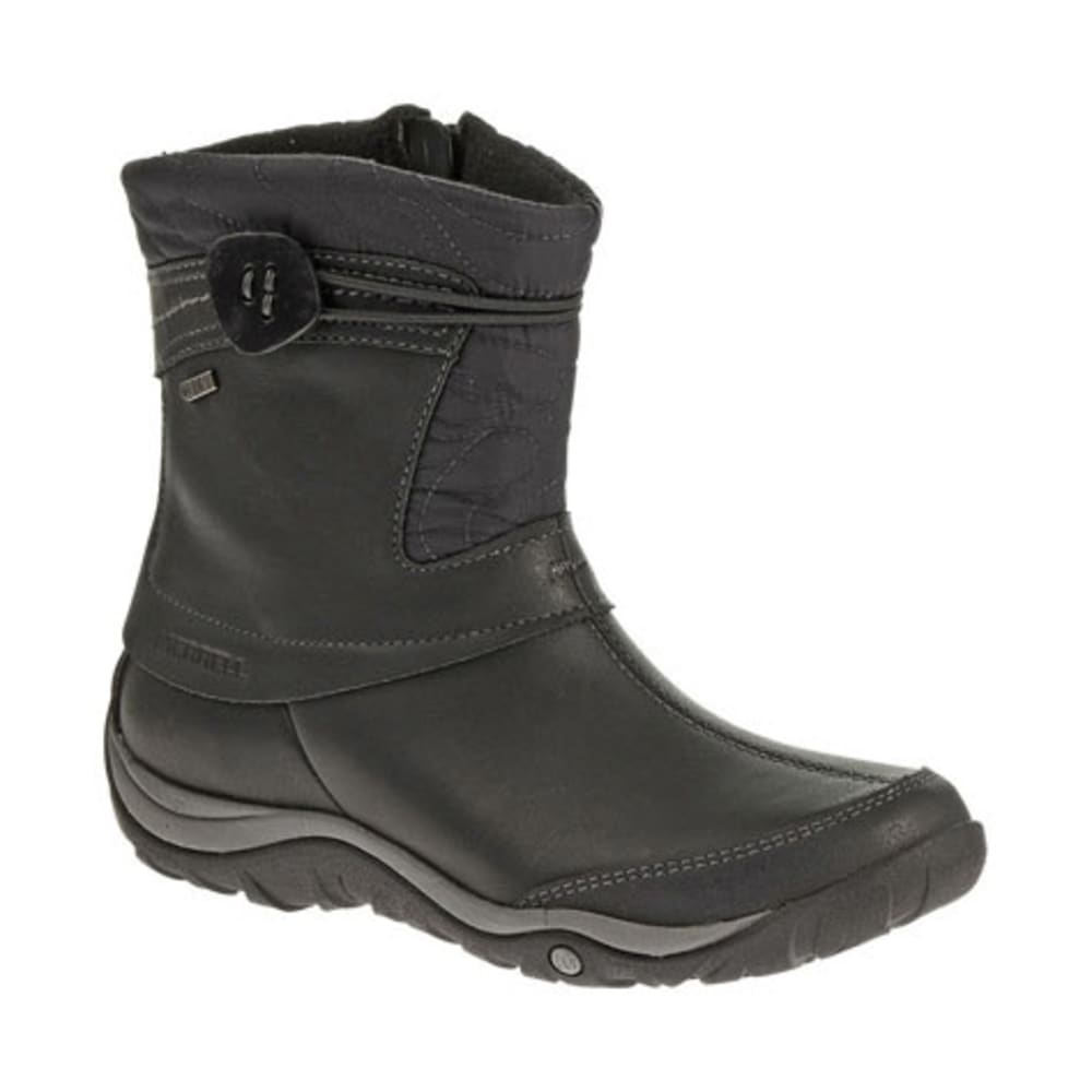 MERRELL Women's Dewbrook Zip Waterproof Winter Boots, Black - BLACK