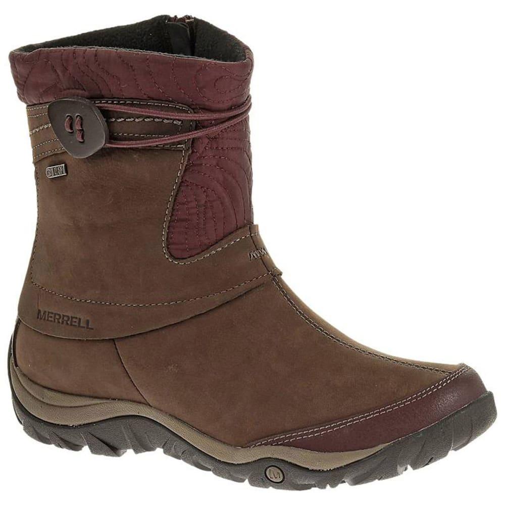 merrell s dewbrook zip waterproof winter boots burgundy