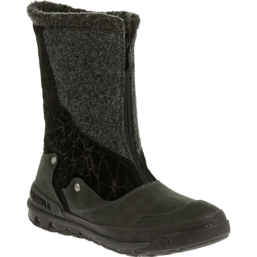 MERRELL Women's Silversun Zip Waterproof Boots, Black - BLACK