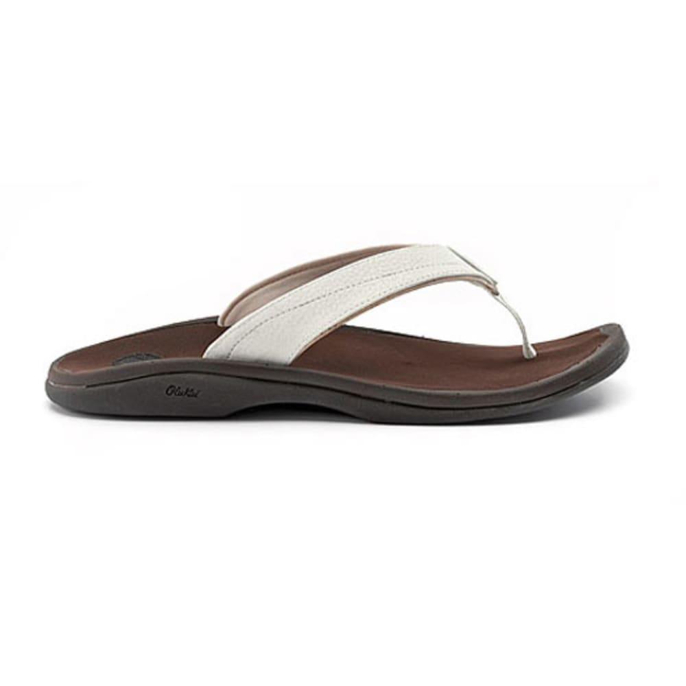 OLUKAI Women's 'Ohana Flip-Flops - WHITE/DARK JAVA