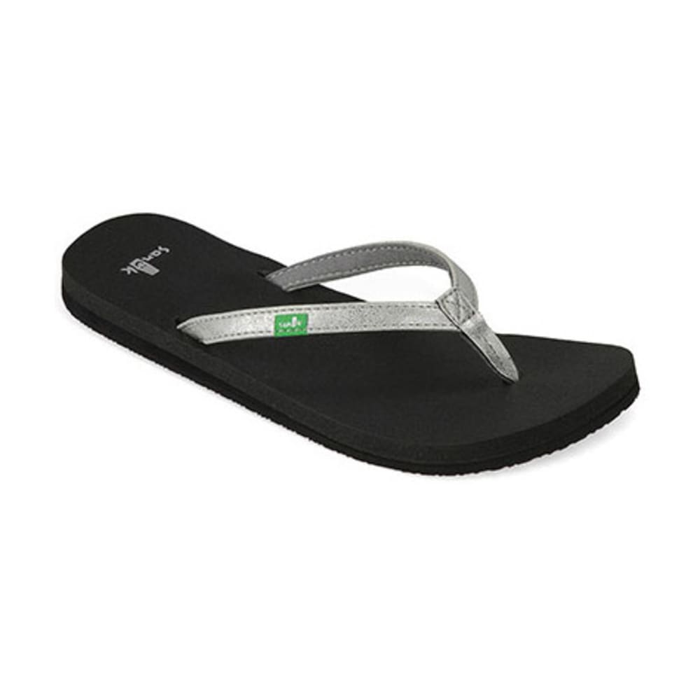 SANUK Women's Yoga Joy Metallic Flip-Flop - SILVER