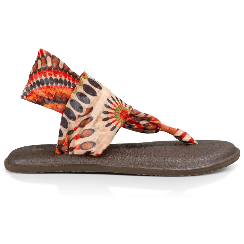 SANUK Women's Yoga Sling 2 Print Sandals, Melon Pinwheel - MELON