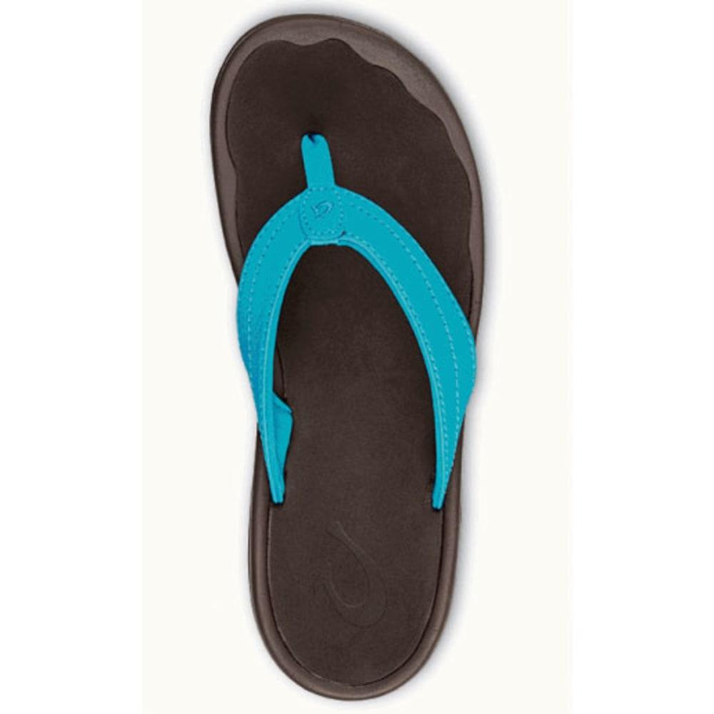 OLUKAI Women's 'Ohana Flip-Flops, Tropic Blue/Dark Java - TROPIC BLUE