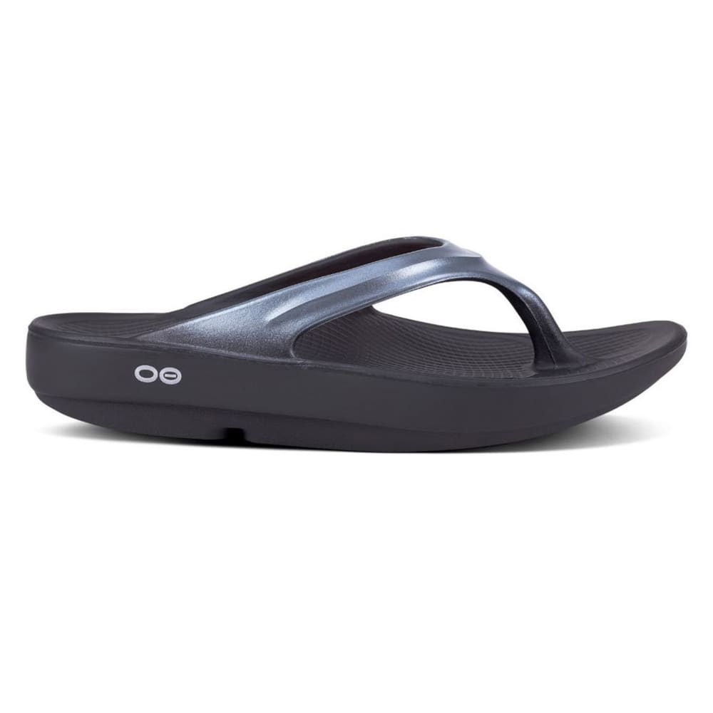 OOFOS Women's OOlala Thong Sandals - BLACK/GRAPHITE