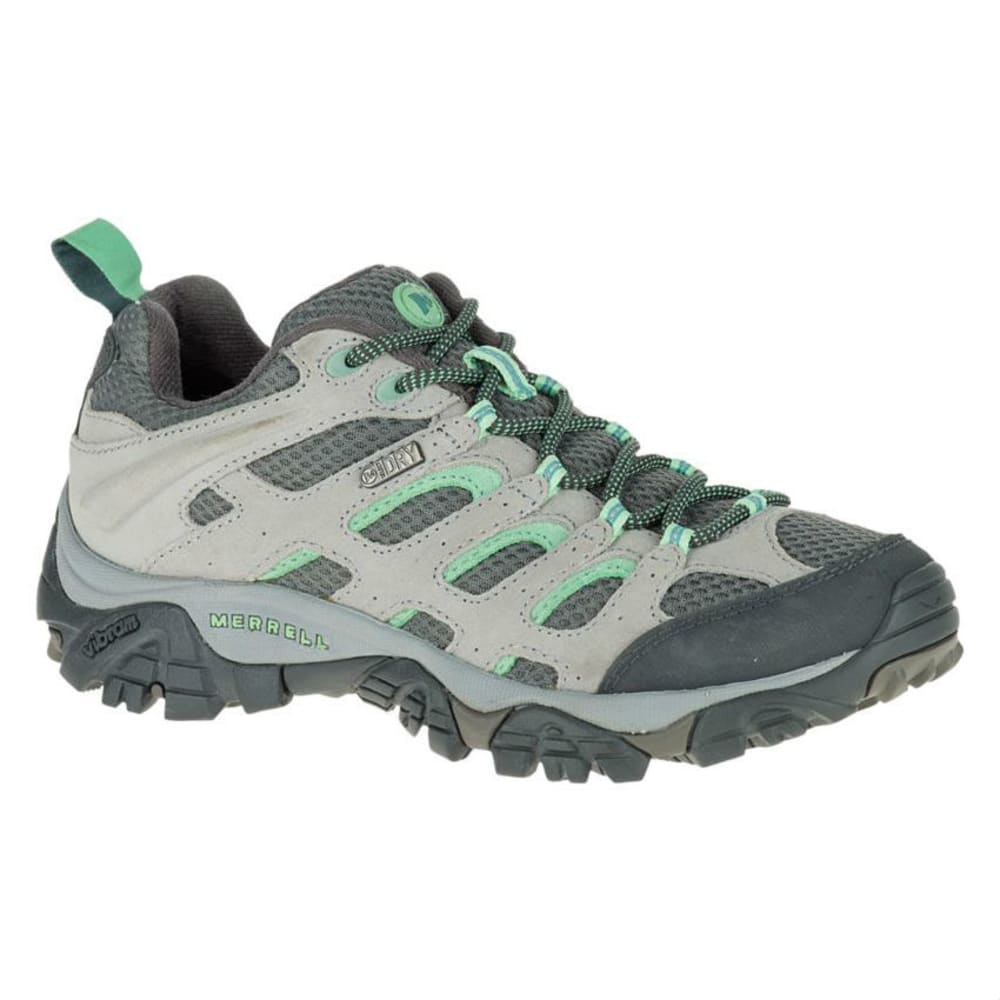 MERRELL Women's Moab WP Hiking Shoes, Drizzle/Mint - DRIZZLE