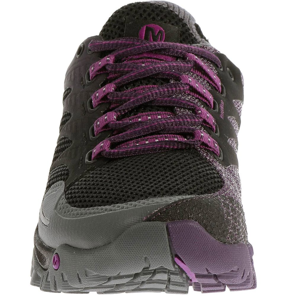 MERRELL Women's All Out Charge Running Shoes, Black/Wild Plum - BLACK
