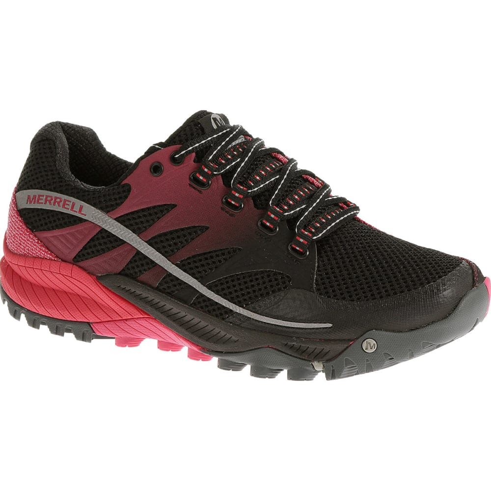 MERRELL Women's All Out Charge Running Shoes, Black/Geranium - BLACK/GERANIUM