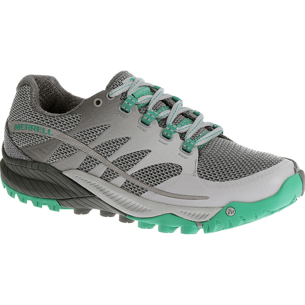 MERRELL Women's All Out Charge Running Shoes, Light Grey/Dynasty Green - LIGHT GREY/DYNASTY G