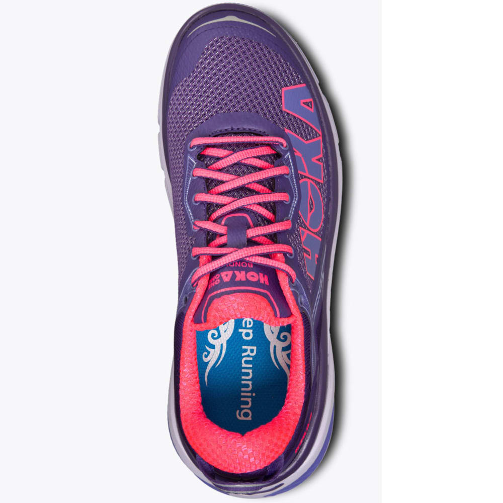 HOKA ONE ONE Women's Bondi 4 Running Shoes, Mulberry Purple/Neon Pink - MULBERRY