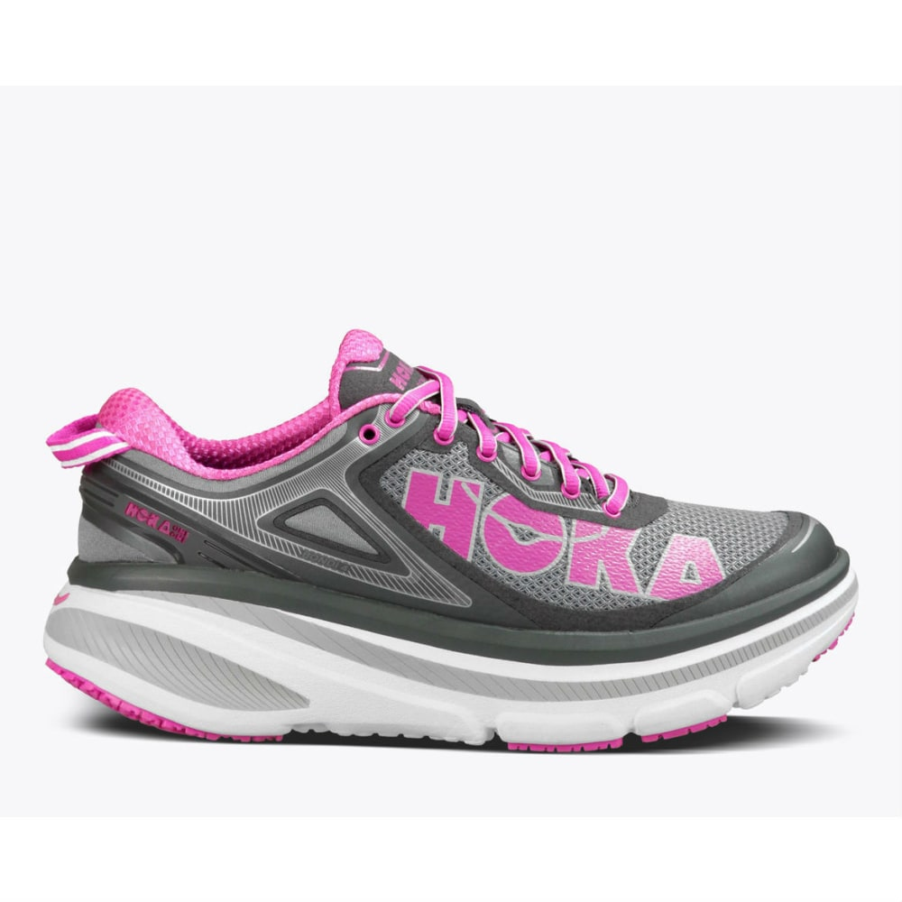 HOKA ONE ONE Women's Bondi 4 Running Shoes, Grey/Fushia - GREY