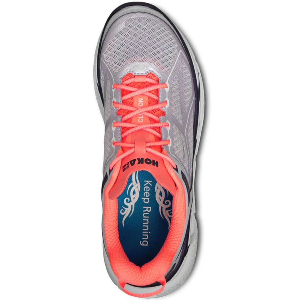 HOKA ONE ONE Women's Clifton Road Running Shoes, Evening Haze/Neon - EVENING