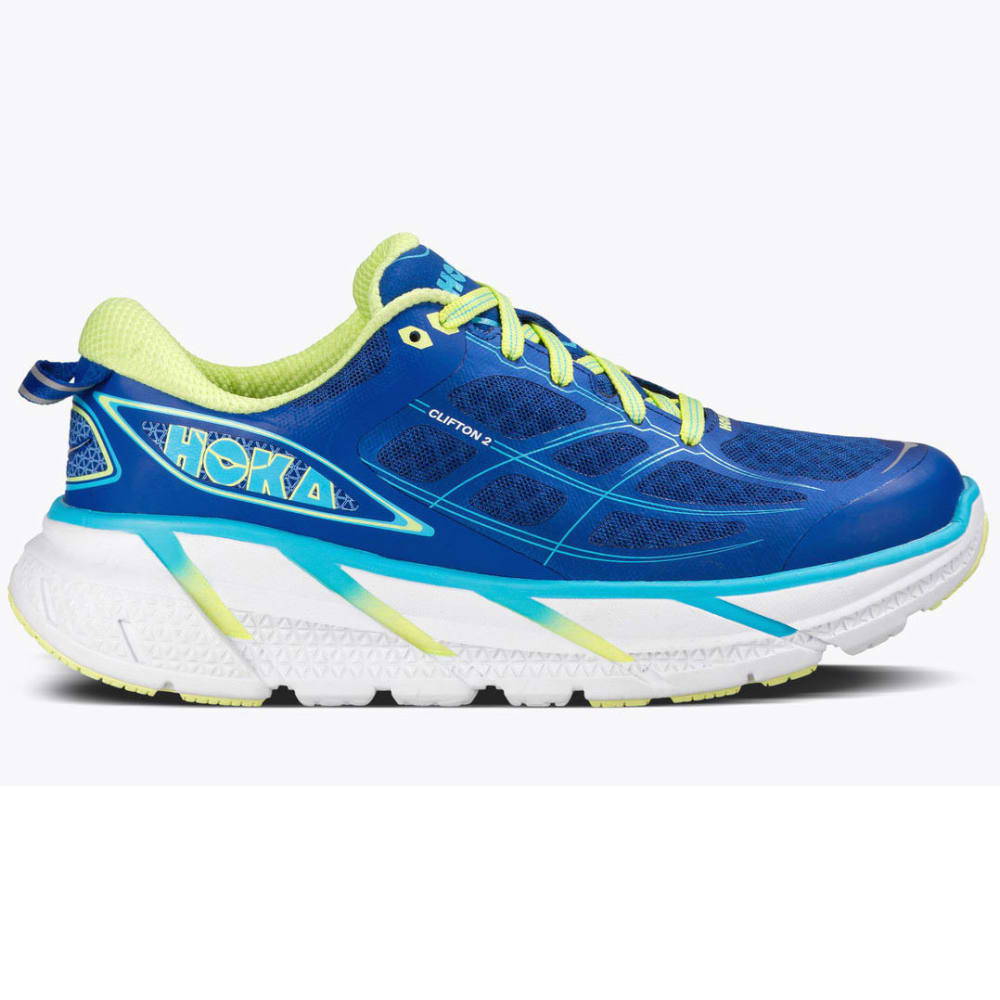 HOKA ONE ONE Women's Clifton 2 Running Shoes, True Blue/Sunny Lime - TRUE BLUE