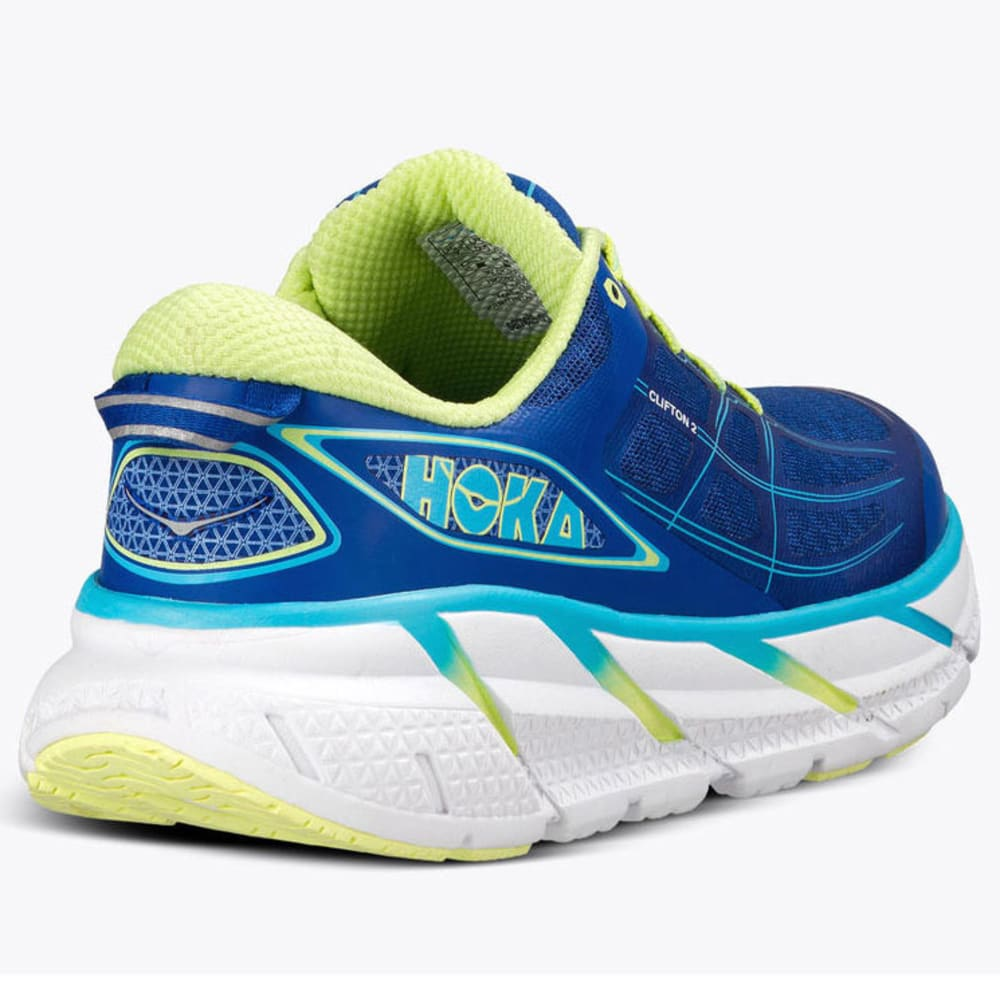new products 47d95 d77bc HOKA ONE ONE Women's Clifton 2 Running Shoes, True Blue/Sunny Lime