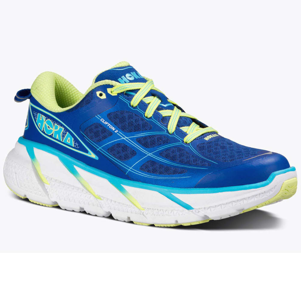 HOKA ONE ONE Womens Clifton 2 Running Shoes True BlueSunny Lime