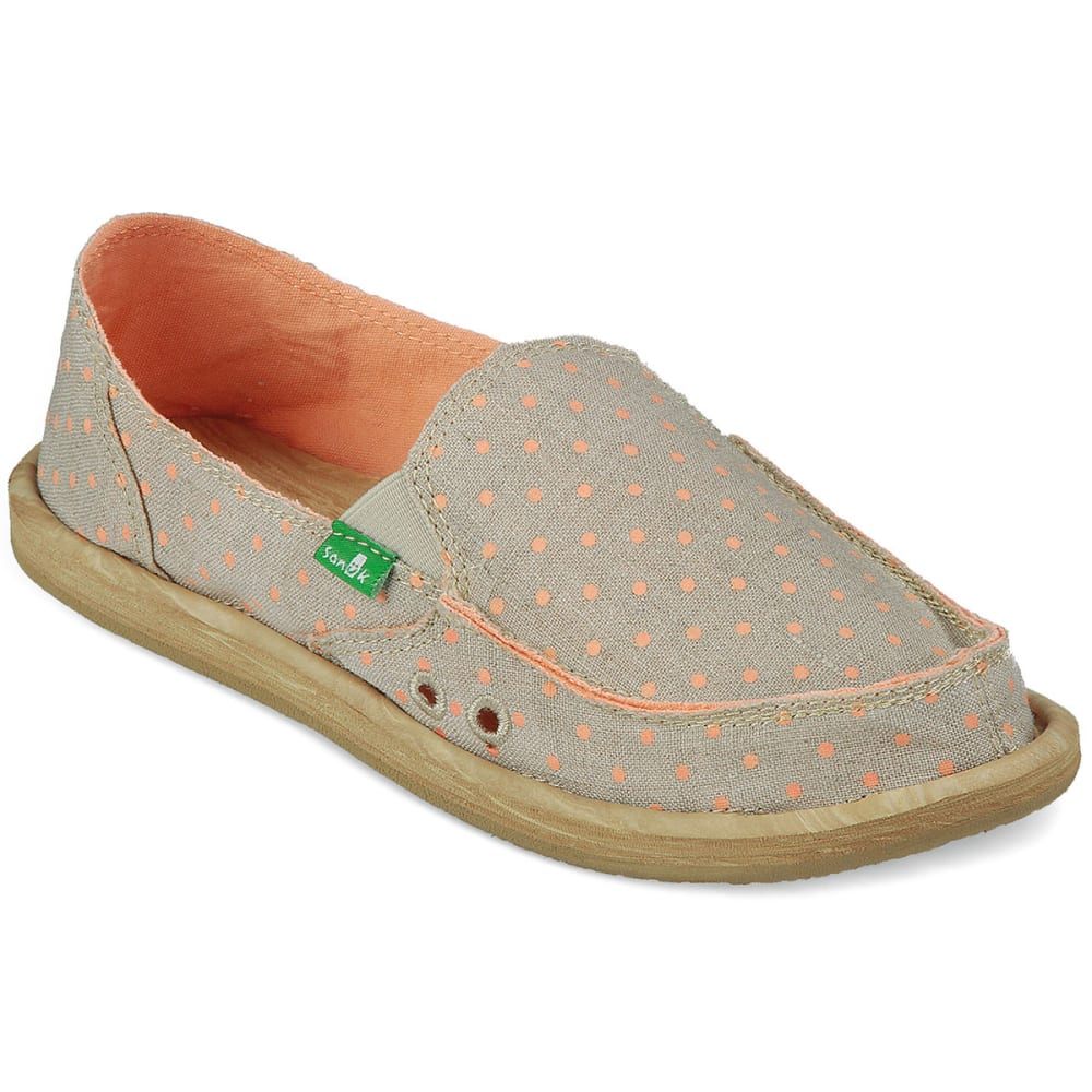 SANUK Women's Hot Dotty Shoes - NATURAL/PEACH DOTS