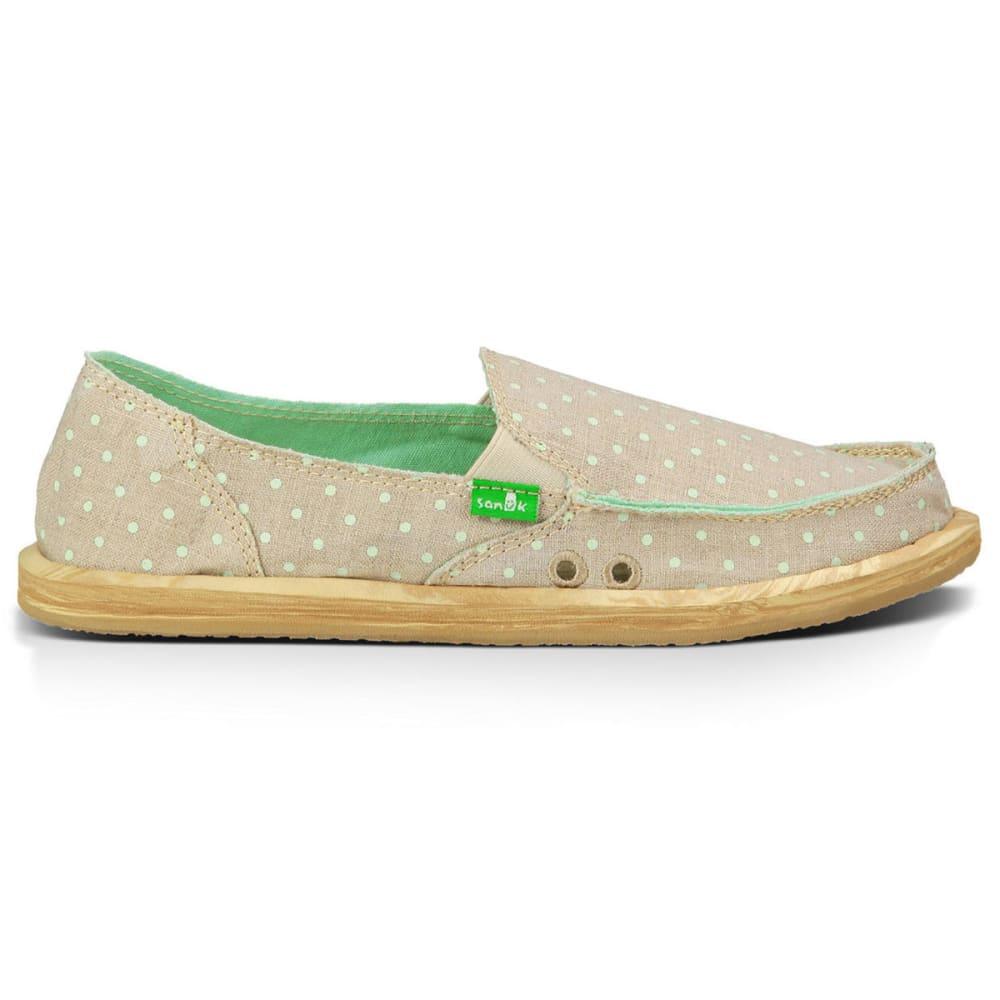 SANUK Women's Hot Dotty Shoes - NATURAL/MINT DOTS