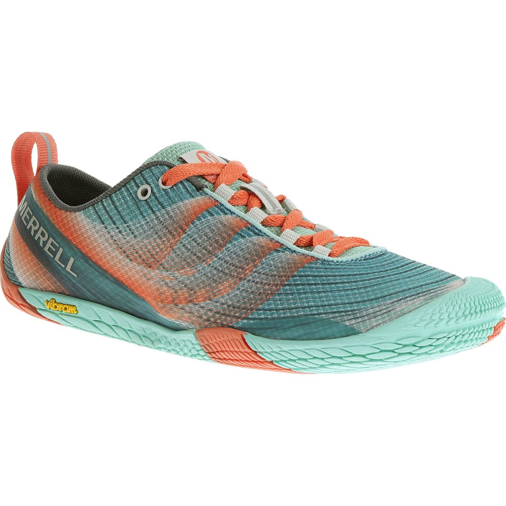 MERRELL Women's Vapor Glove 2 Running Shoes, Sea Blue/Coral - SEA BLUE/CORAL