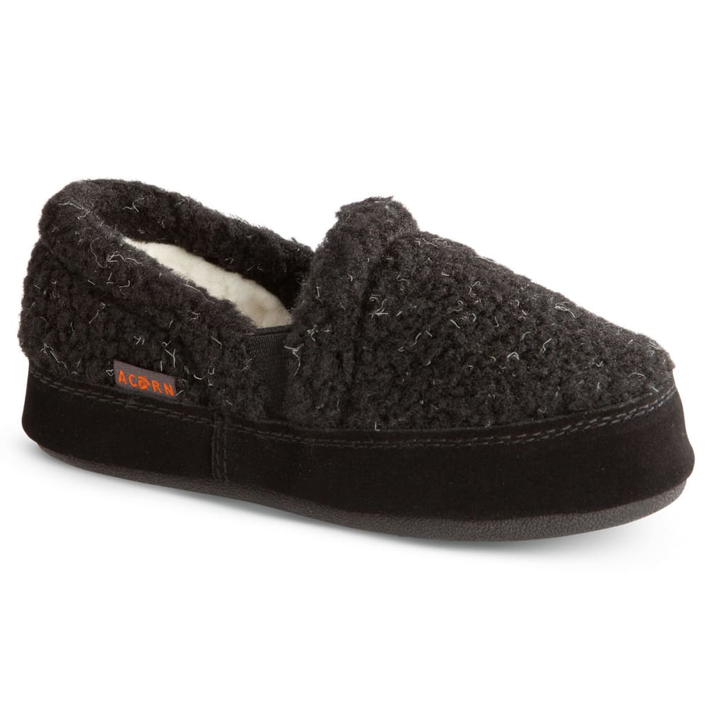 ACORN Kids' Colby Gore Moc Slippers, Black Berber - BLACK