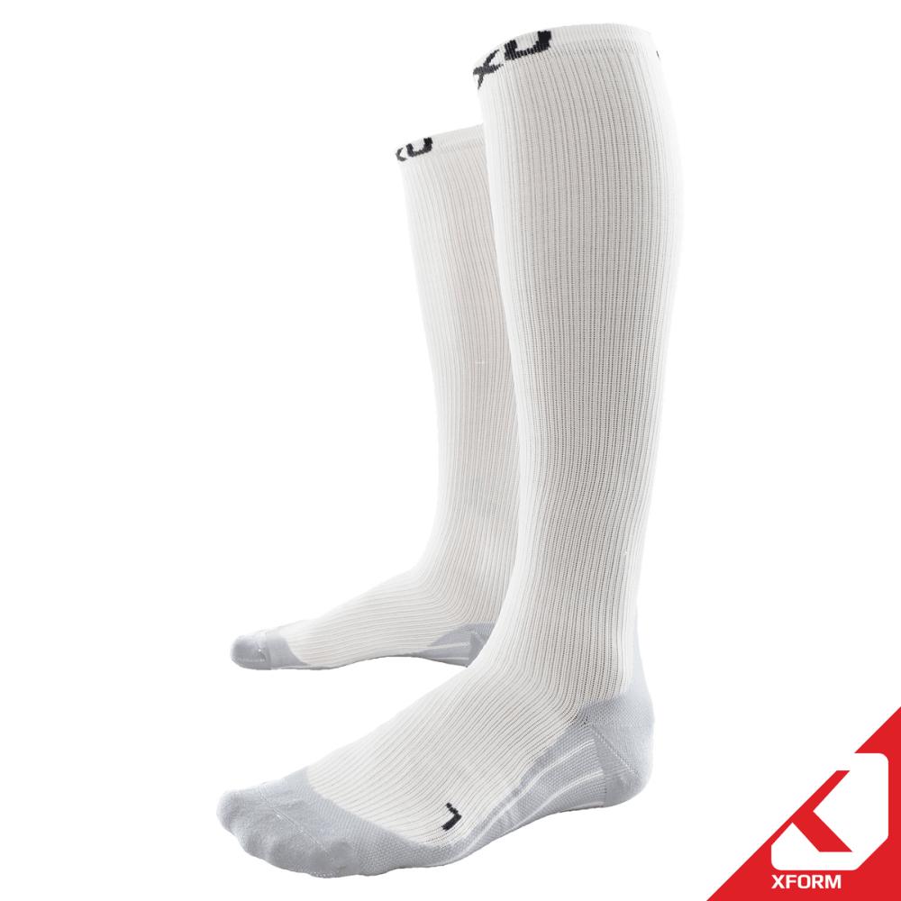 2XU Men's Elite Compression Socks - WHITE/GREY