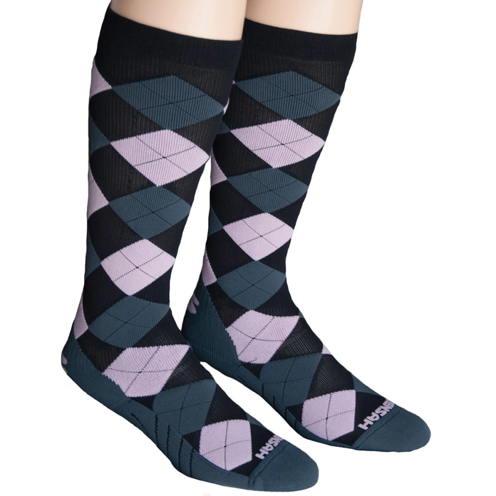 ZENSAH Argyle Compression Socks - BLACK/GREY/LT PINK
