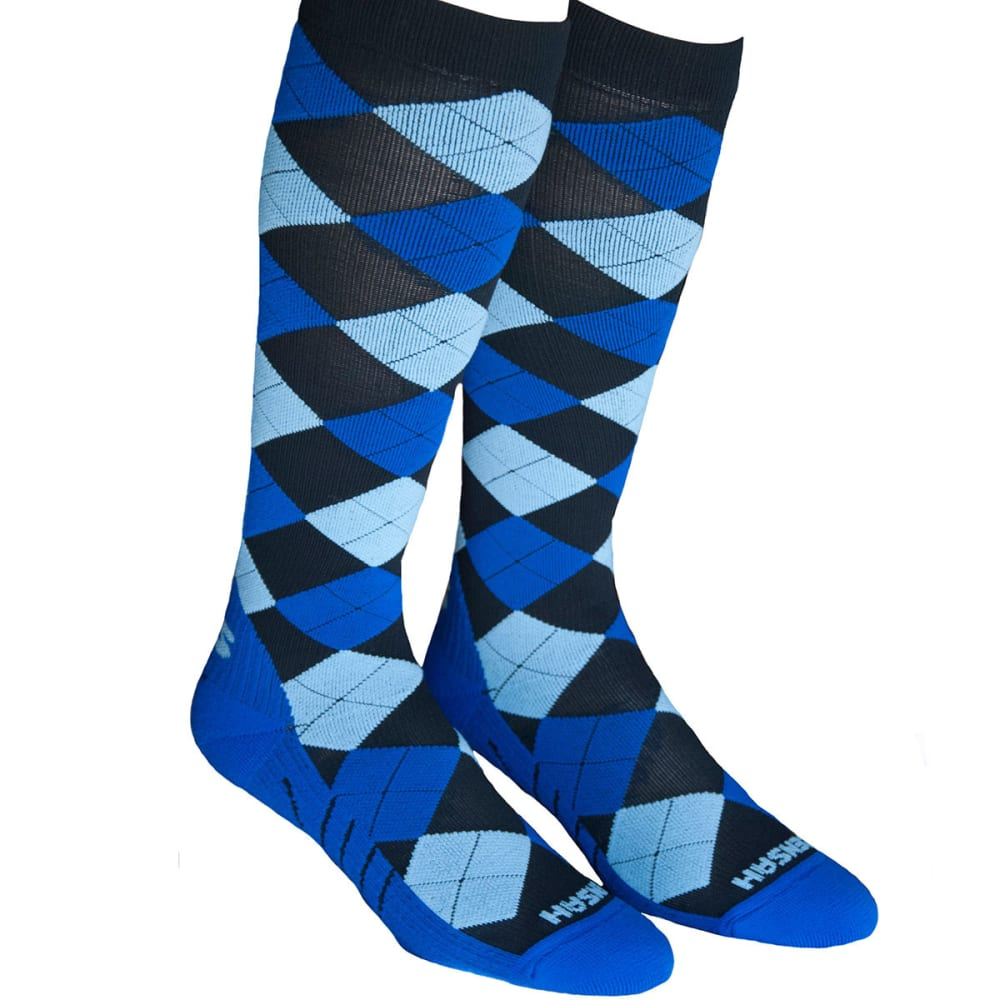 ZENSAH Argyle Compression Socks - BLACK/ELECTRIC BLUE/