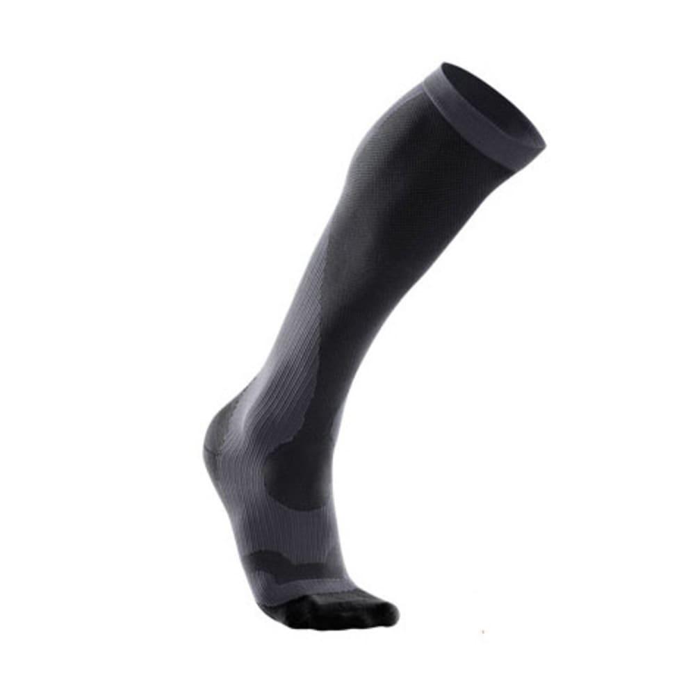 2XU Men's Compression Performance Run Socks - TITANIUM/BLACK