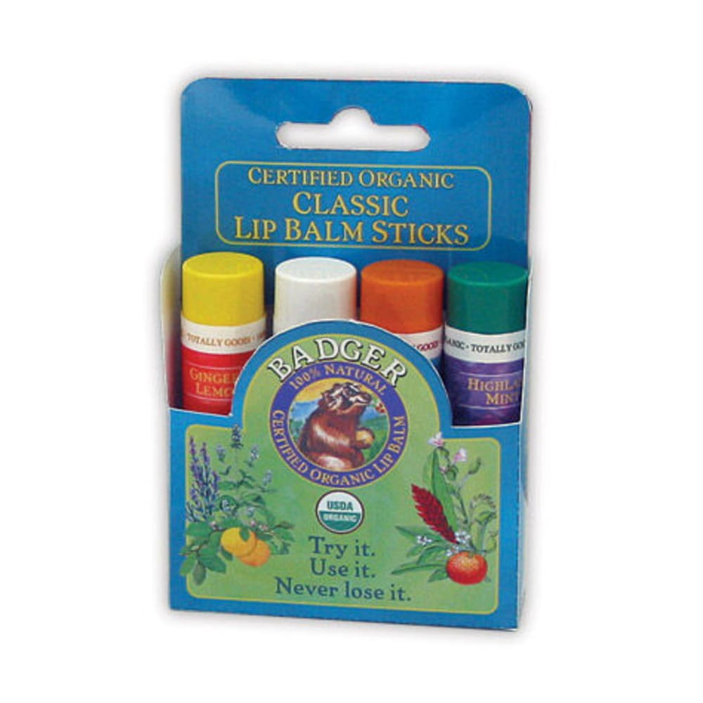 BADGER Classic Lip Balm, 4-Pack - NONE