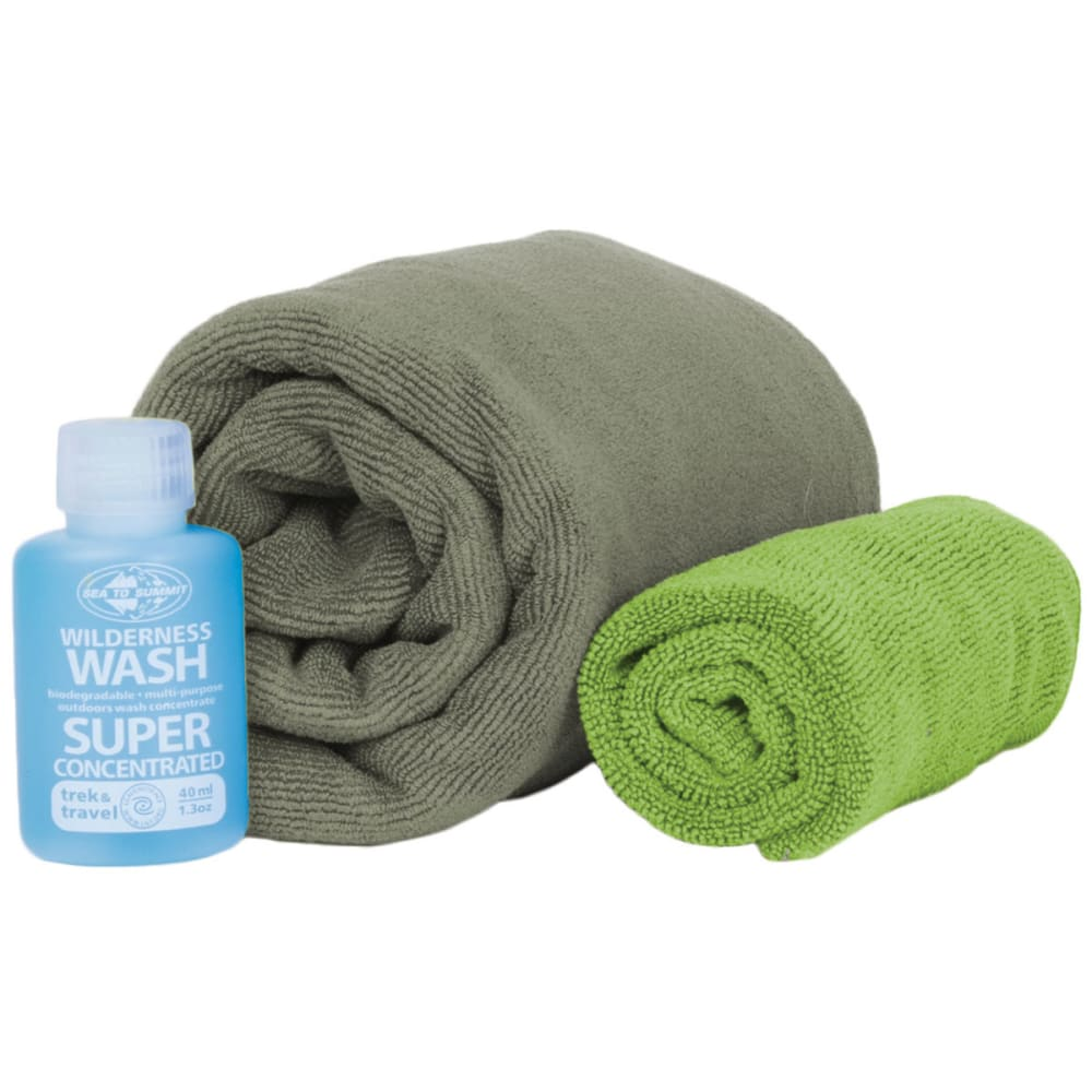 SEA TO SUMMIT Tek Towel Wash Kit, Eucalyptus - EUCALYPTUS