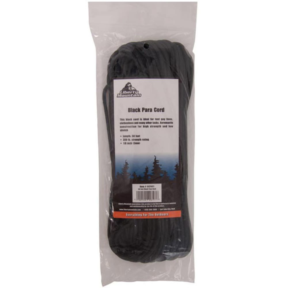 LIBERTY MOUNTAIN Para Cord, 50 ft. - BLACK