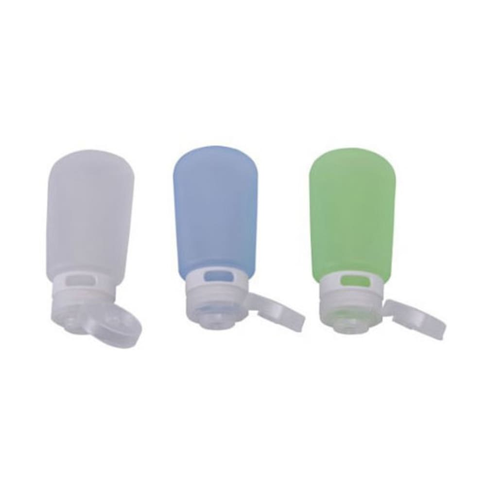 HUMAN GEAR GoToob, 3 oz., 3 Pack - CLEAR/BLUE/GRN