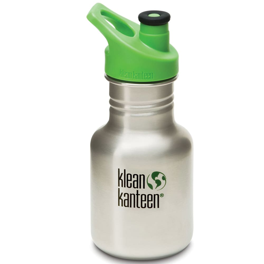 Klean Kanteen Kids' Stainless Steel Sport Cap Bottle, 12 Oz. - Black 559612