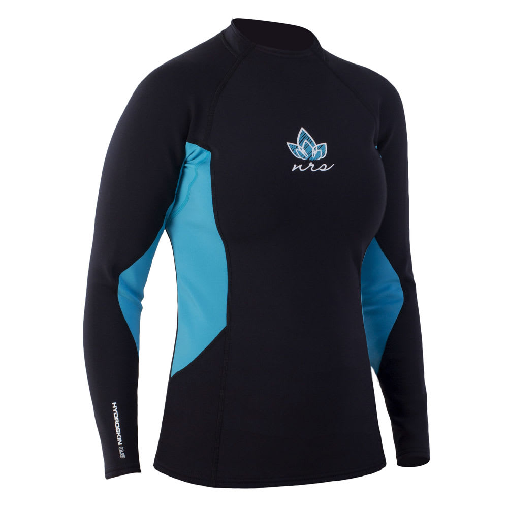 NRS Women's HydroSkin 0.5 Long-Sleeve Shirt - OCEAN/BLACK