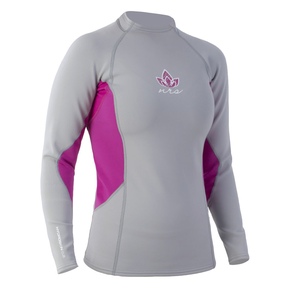 NRS Women's HydroSkin 0.5 Long-Sleeve Shirt - GREY/PURPLE