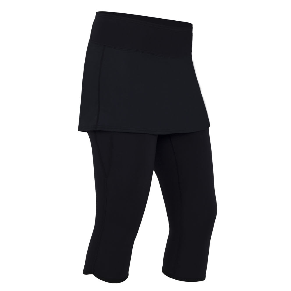 NRS Women's HydroSkin 0.5 Capris with Skirt - BLACK