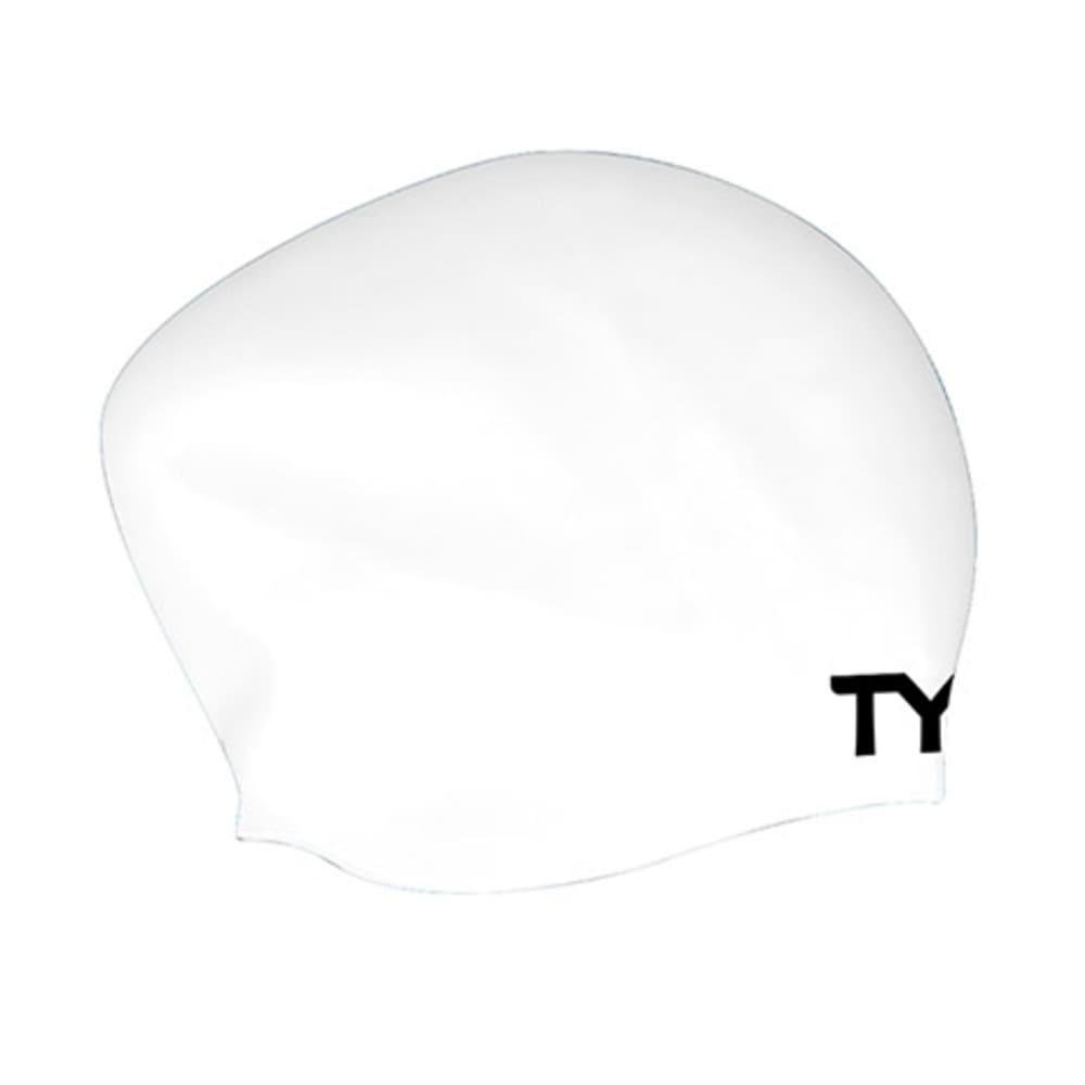 TYR Long Hair Wrinkle-Free Swim Cap - WHITE