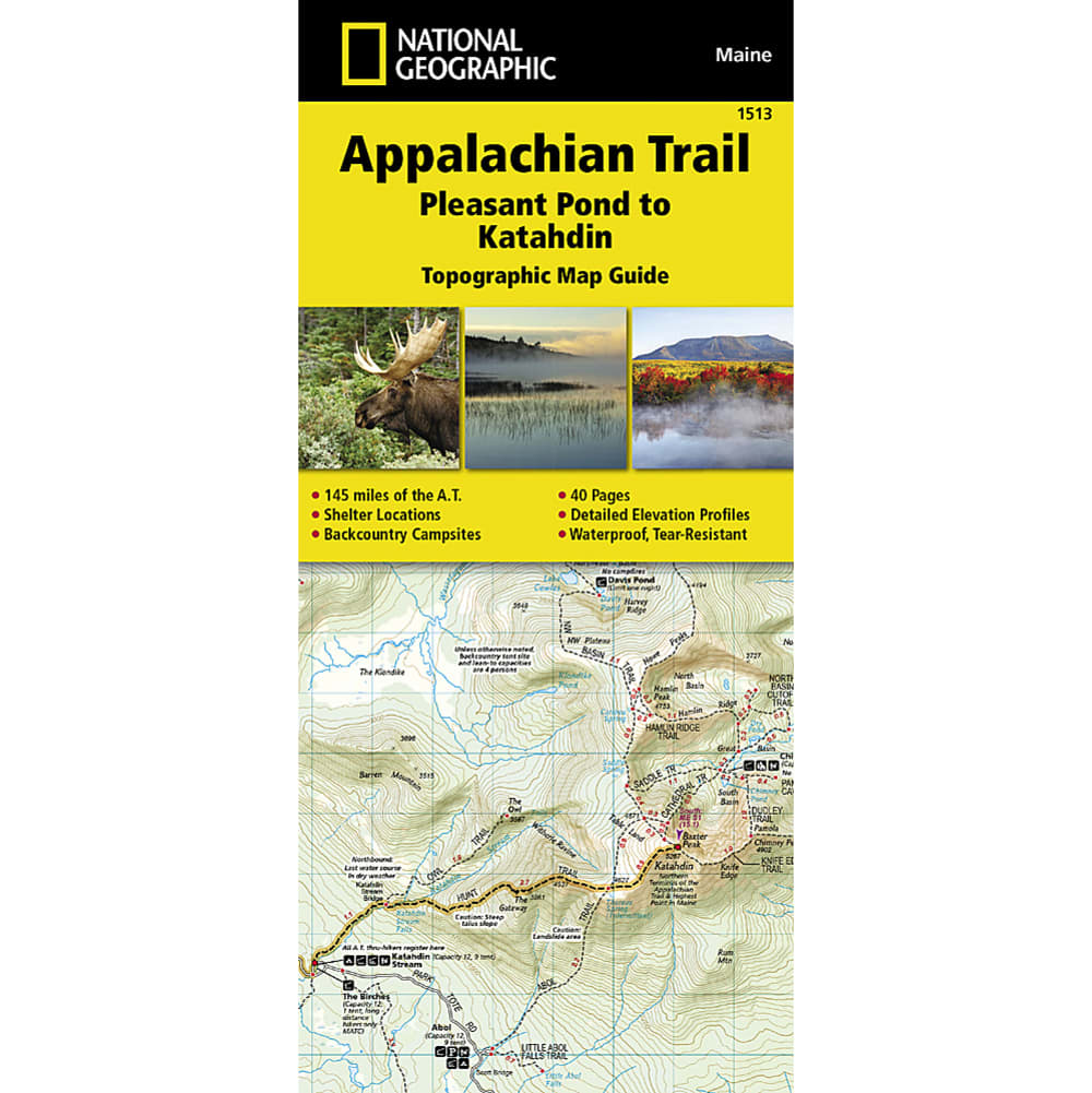 NATIONAL GEOGRAPHIC Appalachian Trail, Pleasant Pond to Mount Katahdin Topographic Map Guide NO SIZE