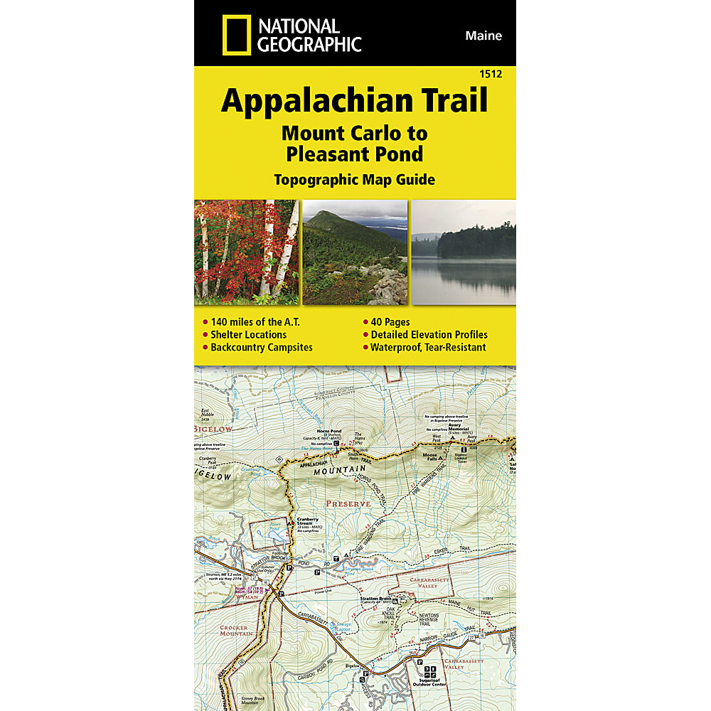 NATIONAL GEOGRAPHIC Appalachian Trail, Mount Carlo to Pleasant Pond Topographic Map Guide NO SIZE
