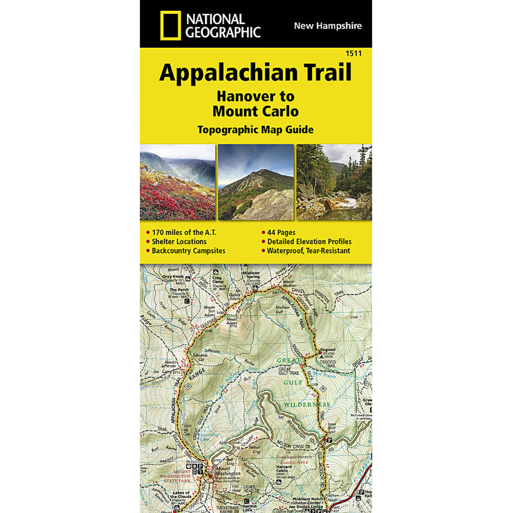 NATIONAL GEOGRAPHIC Appalachian Trail, Hanover to Mount Carlo Topographic Map Guide NO SIZE
