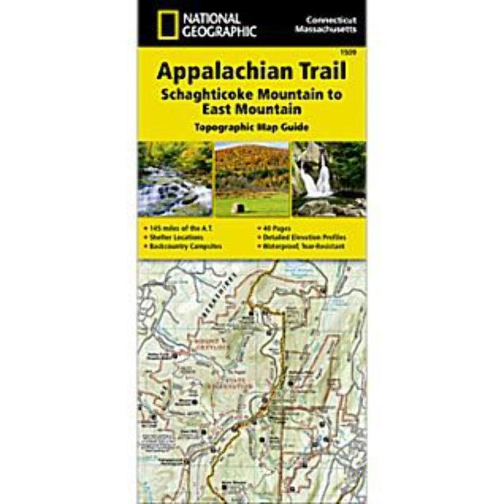 NATIONAL GEOGRAPHIC Appalachian Trail, Schaghticoke Mountain to East Mountain Topographic Map Guide NO SIZE