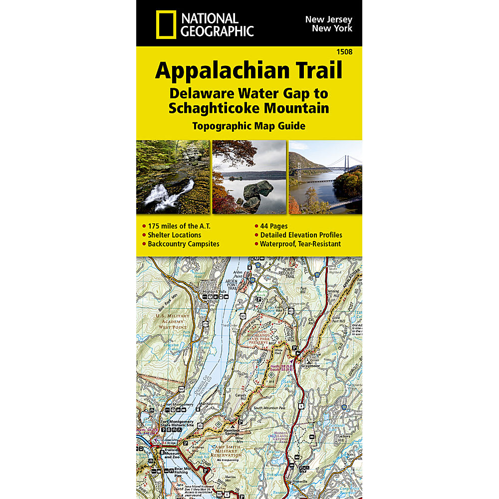 NATIONAL GEOGRAPHIC Appalachian Trail, Delaware Water Gap to Schaghticoke Mountain Topographic NO SIZE
