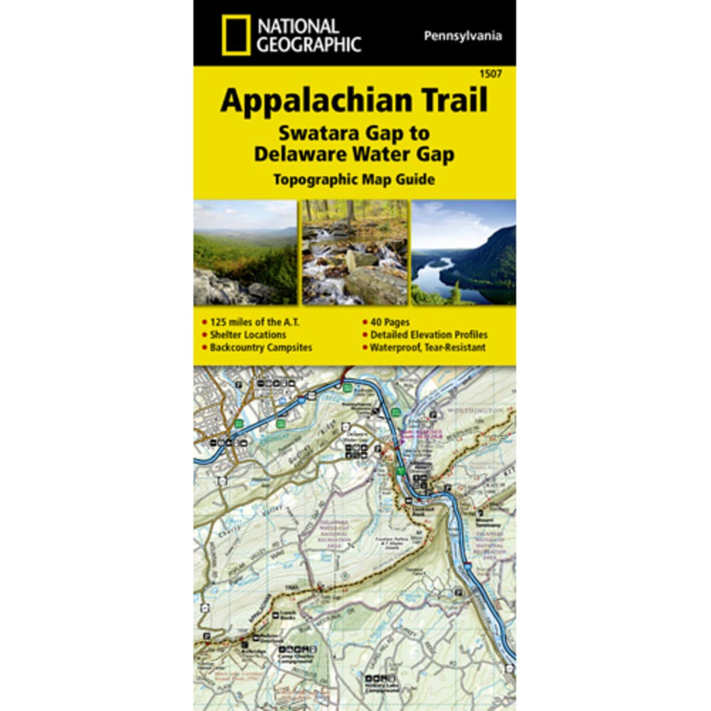 NATIONAL GEOGRAPHIC Appalachian Trail, Swatara Gap to Delaware Water Gap Topographic Map NO SIZE