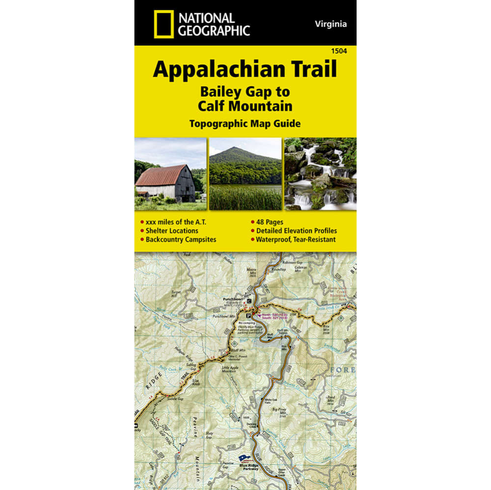 NATIONAL GEOGRAPHIC Appalachian Trail, Bailey Gap to Calf Mountain Topographic Map Guide NO SIZE