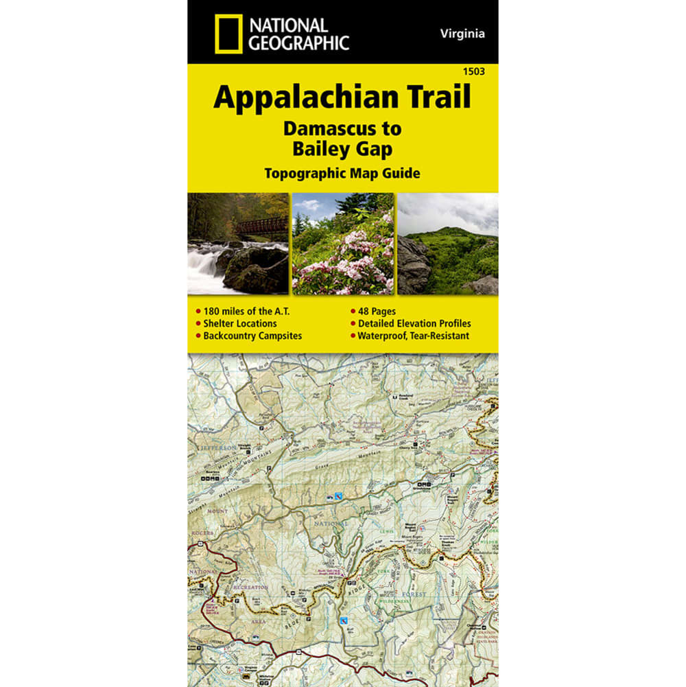 NATIONAL GEOGRAPHIC, Damascus to Bailey Gap, VA Map - NONE