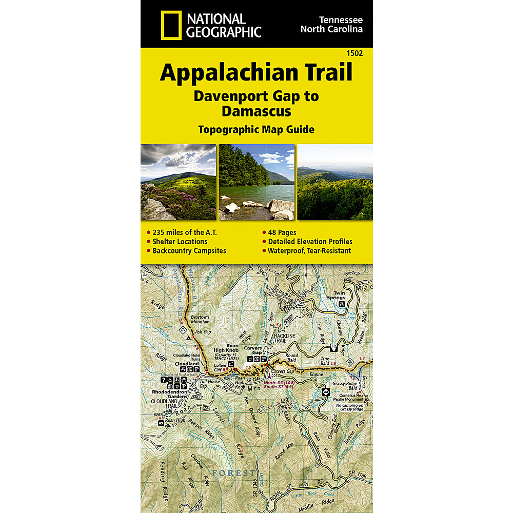 NATIONAL GEOGRAPHIC Appalachian Trail Davenport Gap to Damascus Map Guide NO SIZE